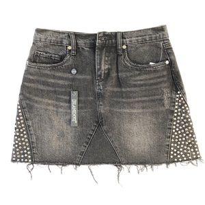 Blank NYC Black Distressed Denim Skirt